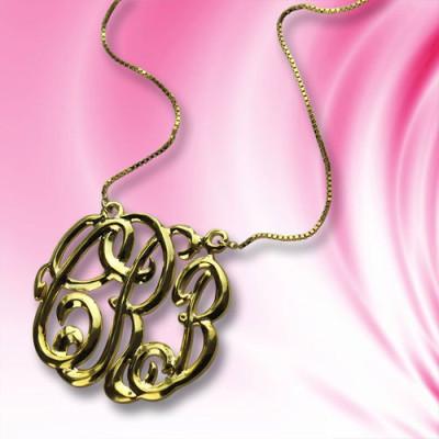 Celebrity Cube Premium Monogram Necklace Gifts - 18CT Gold