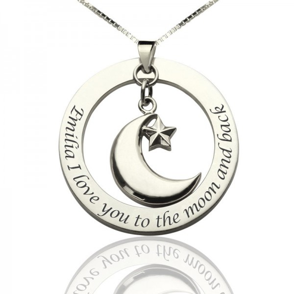 Solid Gold I Love You To The Moon and Back Moon Start Charm Pendant