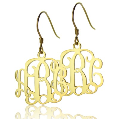 18CT Gold Monogram Earrings