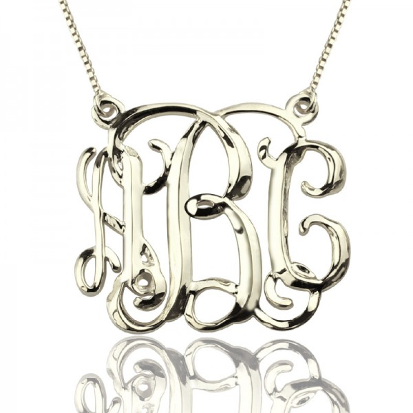 Solid White Gold Cube Monogram Initials Necklace