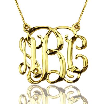 Custom Cube Monogram Initials Necklace - 18CT Gold