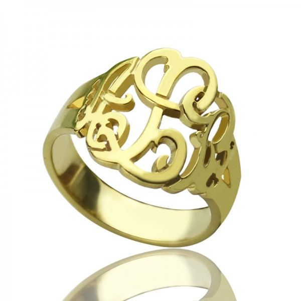 Hand Drawing Monogrammed Solid Gold Ring