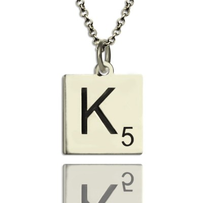 Solid Gold Scrabble Initial Letter Necklace