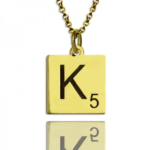 Engraved Scrabble Initial Letter Necklace - 18CT Gold