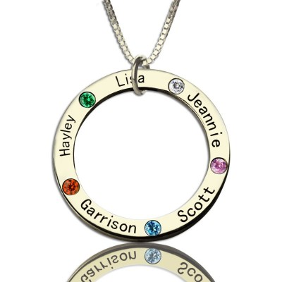 Solid Gold Mothers Family Circle Name Necklace Engraved Birthstone