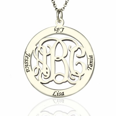 Solid Gold Family Monogram Name Necklace