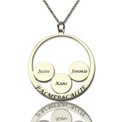 Solid Gold Family Name Pendant For Mom