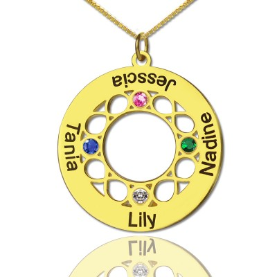 Infinity Birthstone Family Names Necklace - 18CT Gold
