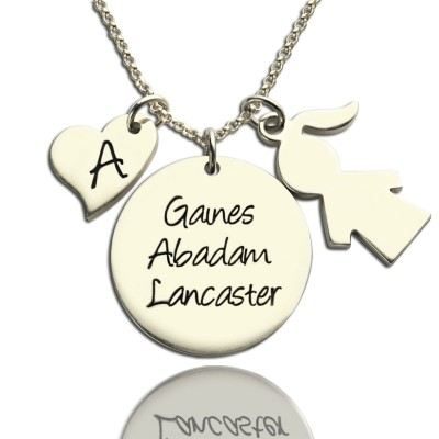 Solid Gold Mother Necklace Gift With Kids Name Charm