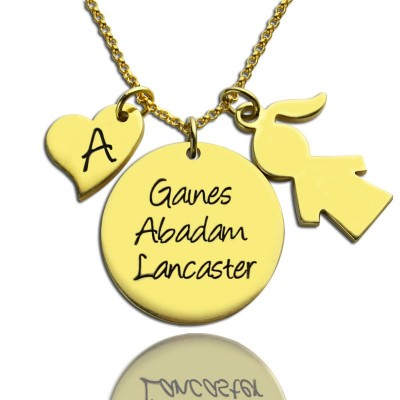 Family Names Pendant For Mother With Kids Charm - 18CT Gold