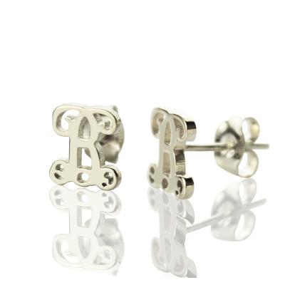 Solid Gold Single Monogram Stud Earrings