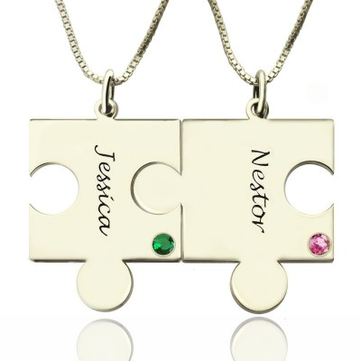 Solid Gold Engraved Puzzle Name Necklace for Couples Love Name Necklace s