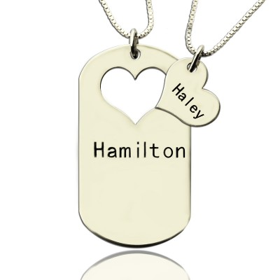 Solid White Gold Couples Name Dog Tag Necklace Set with Cut Out Heart