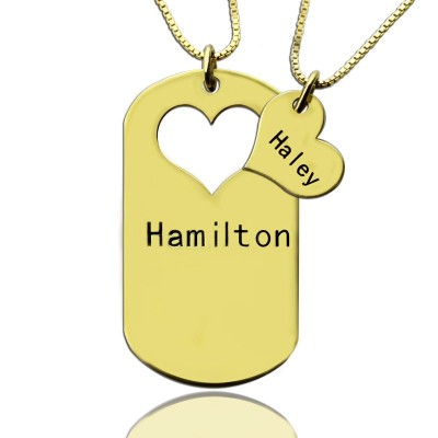 Solid Gold Matching Heart Couples Name Dog Tag Necklaces