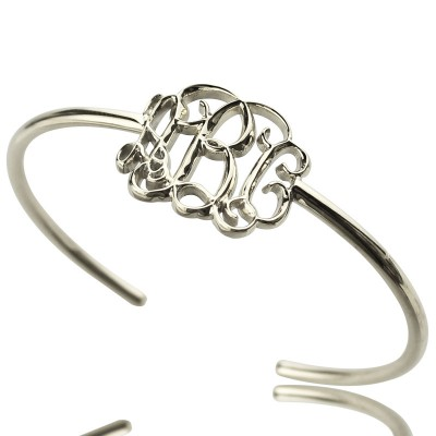 Solid White Gold Celebrity Monogrammed Initial Bangle Bracelet