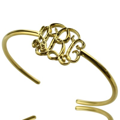 Personalised Celebrity Monogram Initial Bangle - 18CT Gold