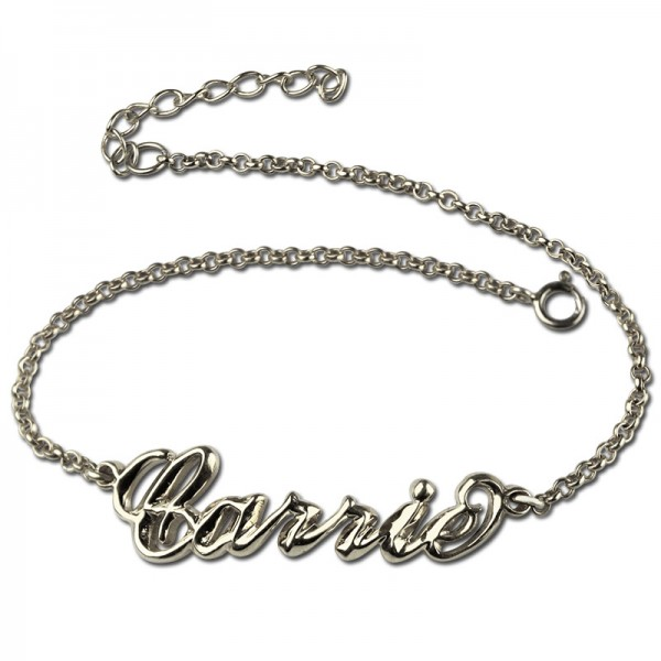 18CT White Gold Women's Name Bracelet Carrie Style