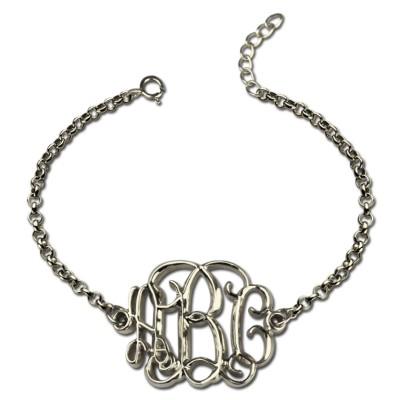 Solid White Gold Celebrity Monogram Initial Bracelet