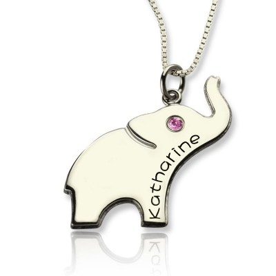 Solid Gold Good Luck Gifts - Elephant Necklace Engraved Name