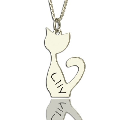 White Gold Personalised Cat Name Charm Necklace