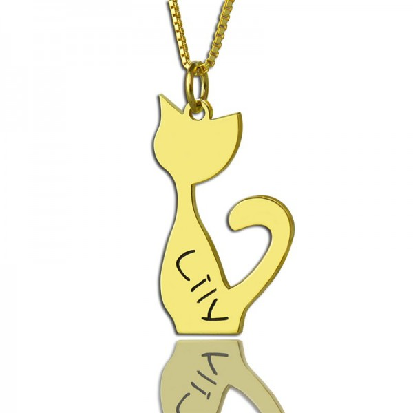 Custom Cat Name Pendant Necklace - 18CT Gold Over