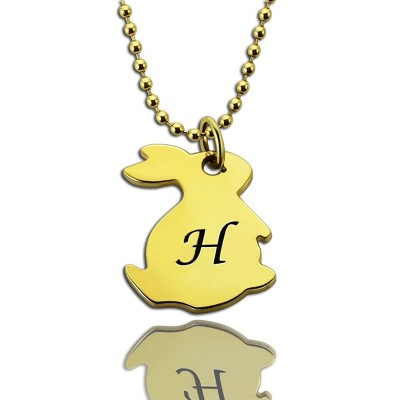 Tiny Rabbit Initial Charm Necklace - 18CT Gold