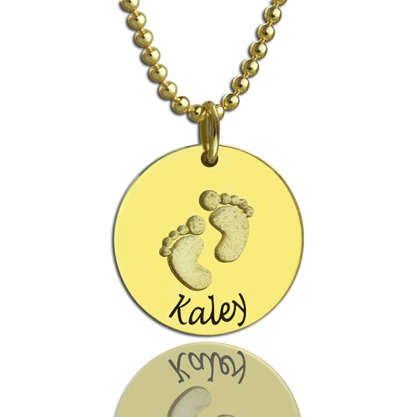 Personalised Baby Footprints Name Necklace - 18CT Gold
