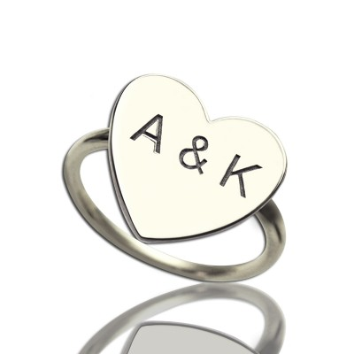 Engraved Sweetheart Solid White Gold Ring with Double Initials