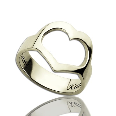 Couple's Name Promise Heart Solid White Gold Ring