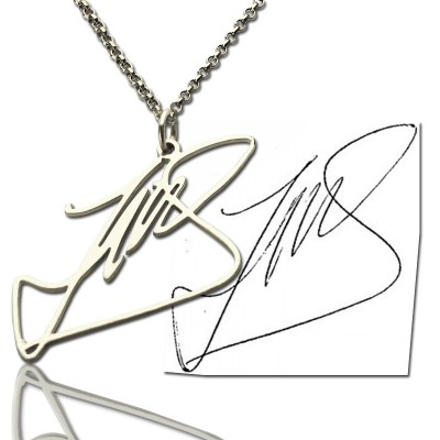 Solid White Gold Custom Name Necklace with Your Own Signature
