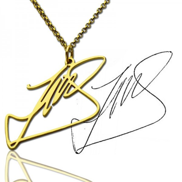 Custom Name Necklace with Your Own Signature 18CT Gold