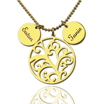 Solid Gold Family Tree Necklace With Name Charm For Mom