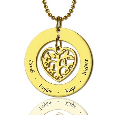 Circle Family Tree Pendant Necklace - 18CT Gold