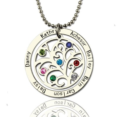 Solid Gold Family Tree Birthstone Name Necklace