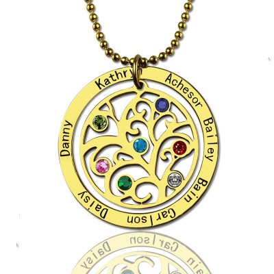 Family Tree Birthstone Necklace - 18CT Gold