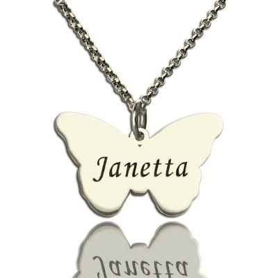 Solid White Gold Charming Butterfly Pendant Name Necklace