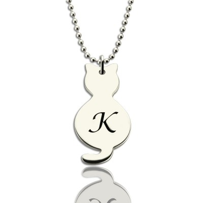 Solid Gold Tiny Cat Initial Pendant Name Necklace
