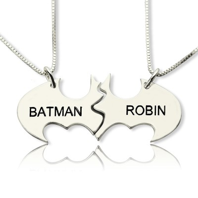 Solid White Gold Batman Best Friend Name Necklace