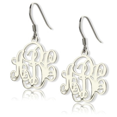 18CT White Gold Script Monogram Earrings
