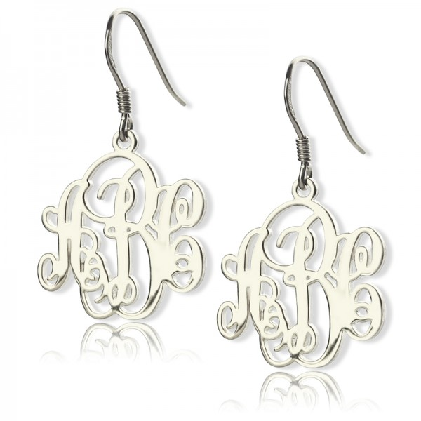 18CT White Gold Script Monogram Earrings