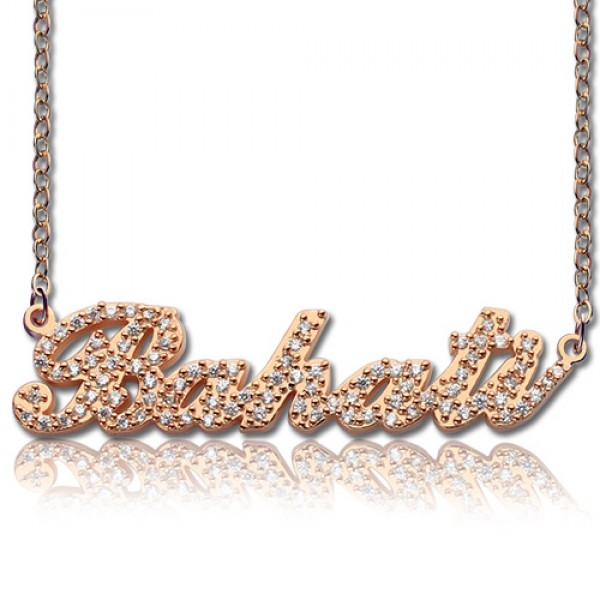 Rose Gold Full Birthstone Carrie Name Necklace