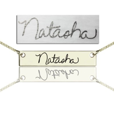 Solid White Gold Custom Name Necklace With Your Signature Bar
