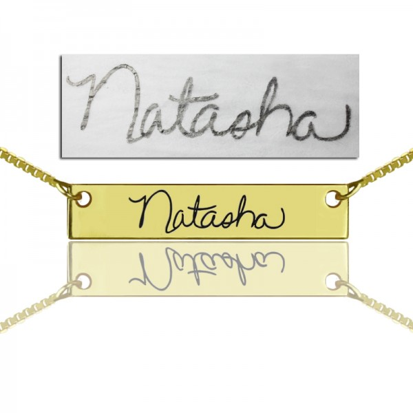 Custom Necklace Signature Bar Necklace Handwritring - 18CT Gold