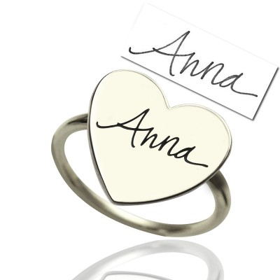 Signature Solid White Gold Ring Handwriting