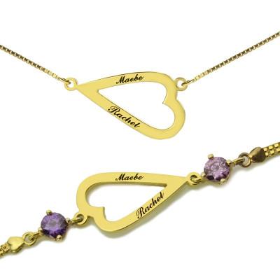 Solid Gold Open Heart Love Necklace Bracelet Engraved Name