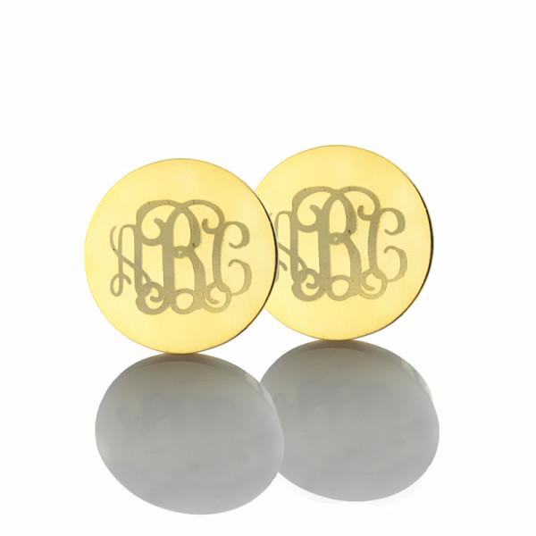 Engraved Monogram Stud Earrings - Solid Gold