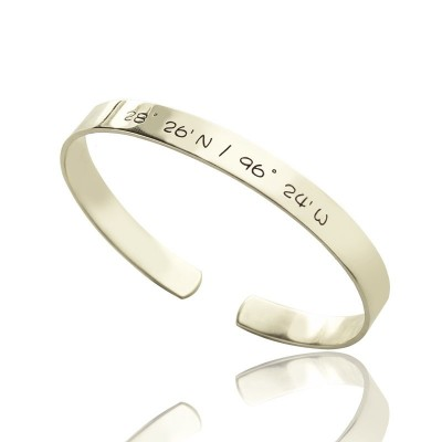 Solid Gold Latitude Longitude Coordinate Cuff Bangle Bracelet