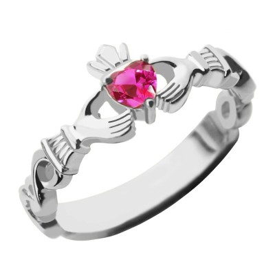 Ladies Claddagh Rings With Birthstone Name - White Gold