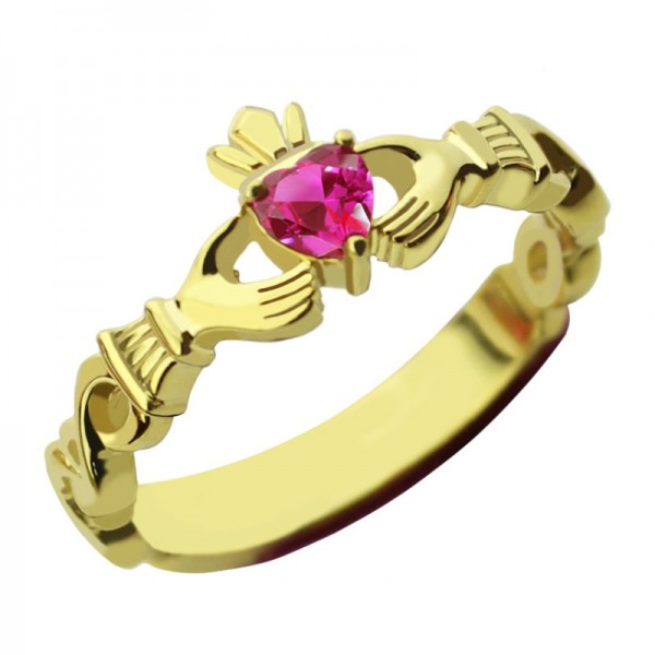 Ladies Modern Claddagh Rings With Birthstone and Name - Gold