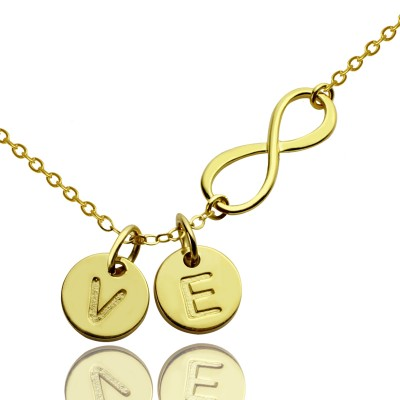 Infinity Necklace With Disc Initial Charm - 18CT Gold